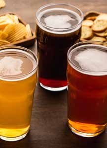 Pints of beer and snacks