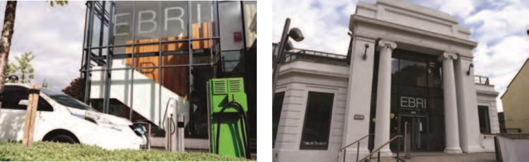 Photos of EBRI building and electric car charging outside