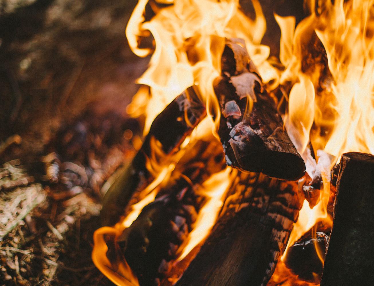 Photo of burning firewood
