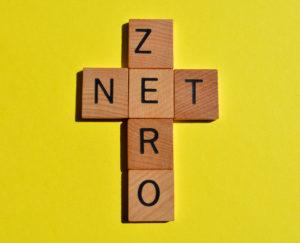 Scrabble pieces spelling Net Zero